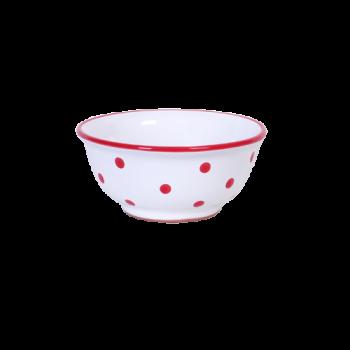 Müzlis tál kicsi, fehér-piros pöttyös
