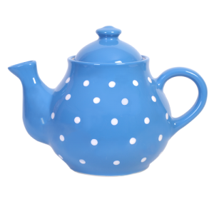 Teás kanna, középkék-fehér pöttyös