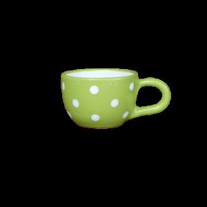 Teás csésze 3,8 dl, pasztell zöld-fehér pöttyös