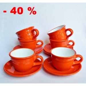 12 db-os Cappuccinos-teás készlet, narancssárga