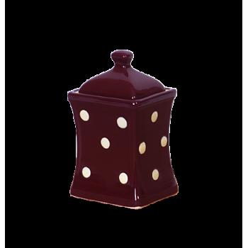 Íves fűszertartó kicsi csoki-krém pöttyös