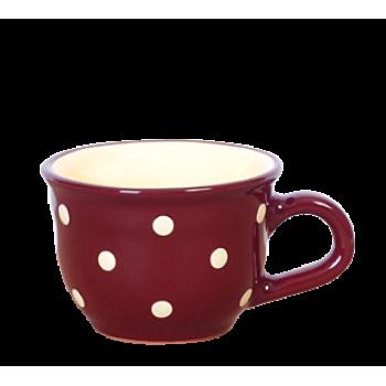 Cappuccino-teás csésze 2,5 dl, csoki-krém pöttyös
