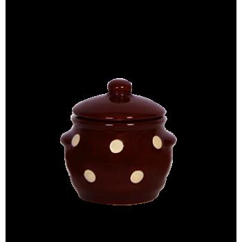 Kerek fűszertartó csoki-krém pöttyös