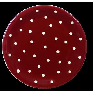 Lapos tányér csoki-krém pöttyös