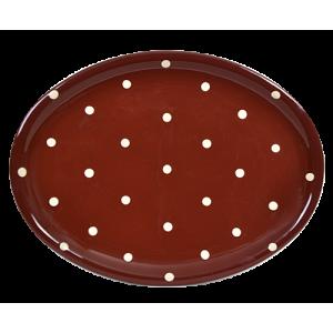 Ovális tálaló, csoki-krém pöttyös