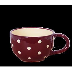 Teás csésze 3,8 dl, csoki-krém pöttyös