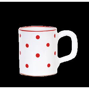 Egyenes bögre 2,8 dl fehér-piros pötty