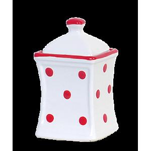 Íves fűszertartó kicsi, fehér-piros pöttyös