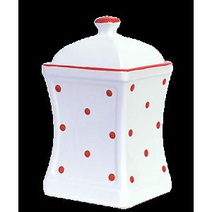 Íves fűszertartó nagy, fehér-piros pöttyös