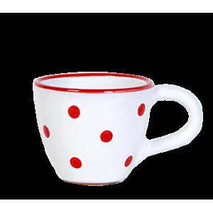 Kávés csésze fehér-piros pötty