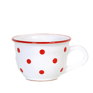 Cappuccino-teás csésze fehér-piros pötty 2,5 dl