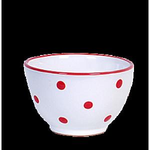 Kompótos/szószos tálka, fehér-piros pöttyös