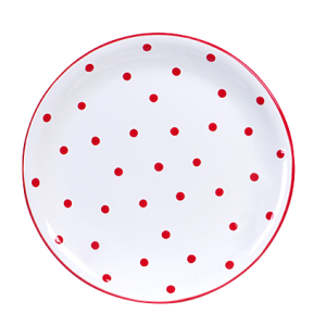 Lapos tányér, fehér-piros pöttyös