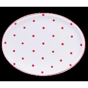 Ovális tálaló, fehér-piros pöttyös