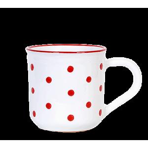 Reggeliző bögre fehér-piros pötty 5,5 dl