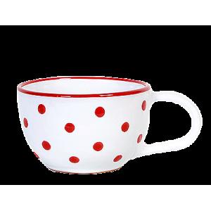 Teás csésze 3,8 dl, fehér-piros pöttyös
