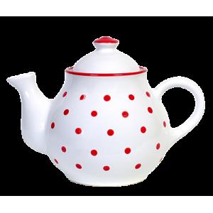 Teás kanna, fehér-piros pöttyös