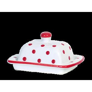 Vajtartó (10 dkg-os vajhoz), fehér-piros pöttyös
