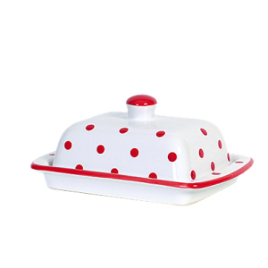 Vajtartó (25 dkg-os vajhoz), fehér-piros pöttyös