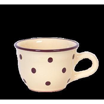 Cappuccino-teás csésze 2,5 dl, krém-csoki pöttyös