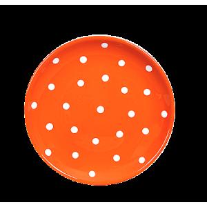 Desszertes tányér, narancssárga-fehér pöttyös