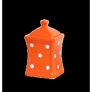 Íves fűszertartó kicsi, narancs-fehér pöttyös
