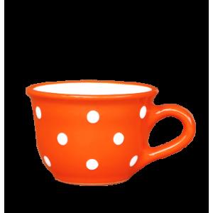 Cappuccino-teás csésze 2,5 dl, narancs-fehér pöttyös