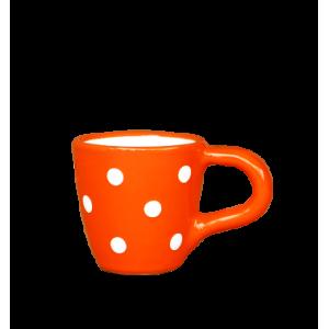 Kávés csésze narancs-fehér pöttyös