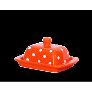 Vajtartó (10 dkg-os vajhoz),narancs-fehér pöttyös