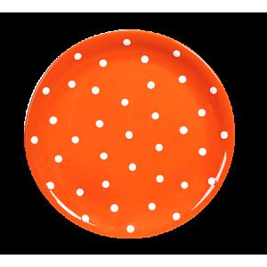 Lapos tányér, narancs-fehér pöttyös