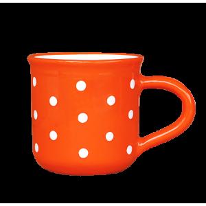 Reggeliző bögre 5,5 dl, narancs-fehér pöttyös