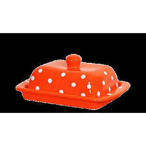 Vajtartó (25 dkg-os vajhoz), narancs-fehér pöttyös