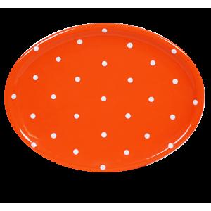 Ovális tálaló, narancs-fehér pöttyös