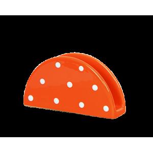 Szalvétatartó, narancs-fehér pöttyös