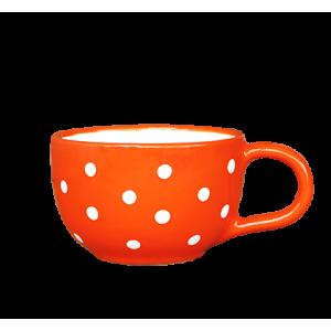 Teás csésze 3,8 dl, narancs-fehér pöttyös