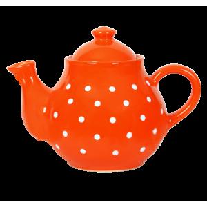 Teás kanna,narancs-fehér pöttyös