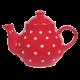 Teás kanna, piros-fehér pöttyös