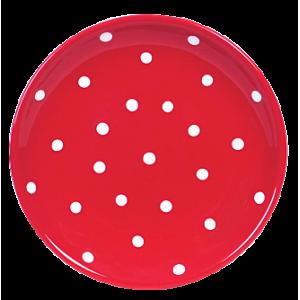 Desszertes tányér, piros-fehér pöttyös