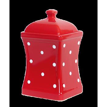 Íves fűszertartó nagy, piros-fehér pöttyös