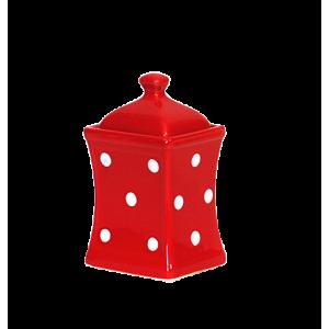 Íves fűszertartó kicsi, piros-fehér pöttyös
