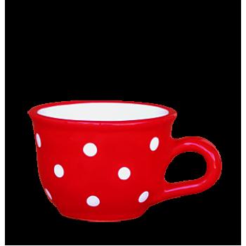 Cappuccino-teás csésze 2,5 dl, piros-fehér pöttyös