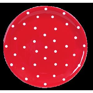 Lapos tányér, piros-fehér pöttyös