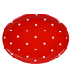 Ovális tálaló, piros-fehér pöttyös
