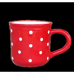 Reggeliző bögre 5,5 dl, piros-fehér pöttyös