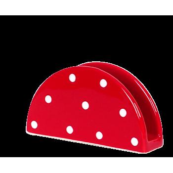 Szalvétatartó, piros-fehér pöttyös
