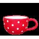 Teás csésze 3,8 dl, piros-fehér pöttyös