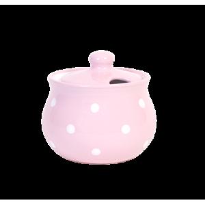 Cukortartó, pasztell rózsaszín-fehér pöttyös