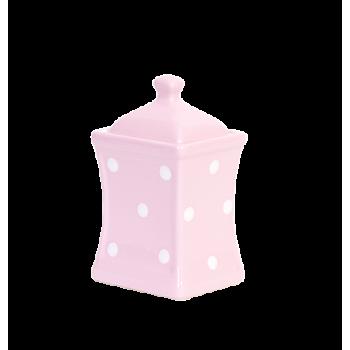Íves fűszertartó kicsi, pasztell rózsaszín-fehér pöttyös