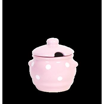 Kerek fűszertartó, pasztell rózsaszin-fehér pöttyös