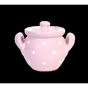 Méz vagy lekvár tartó,pasztell rózsaszín-fehér pöttyös